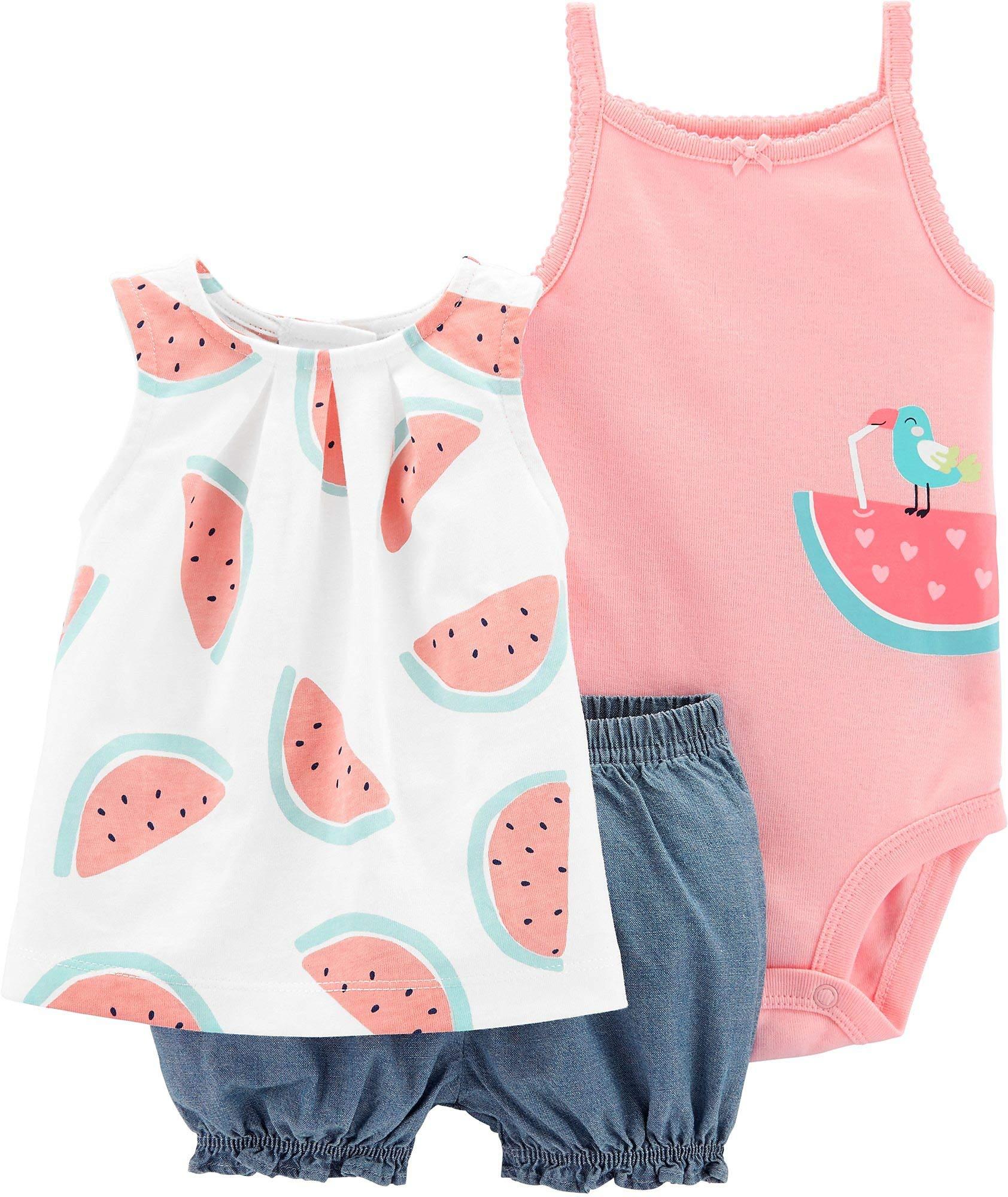 Carter's Baby Girls' 3-Piece Bodysuit & Diaper