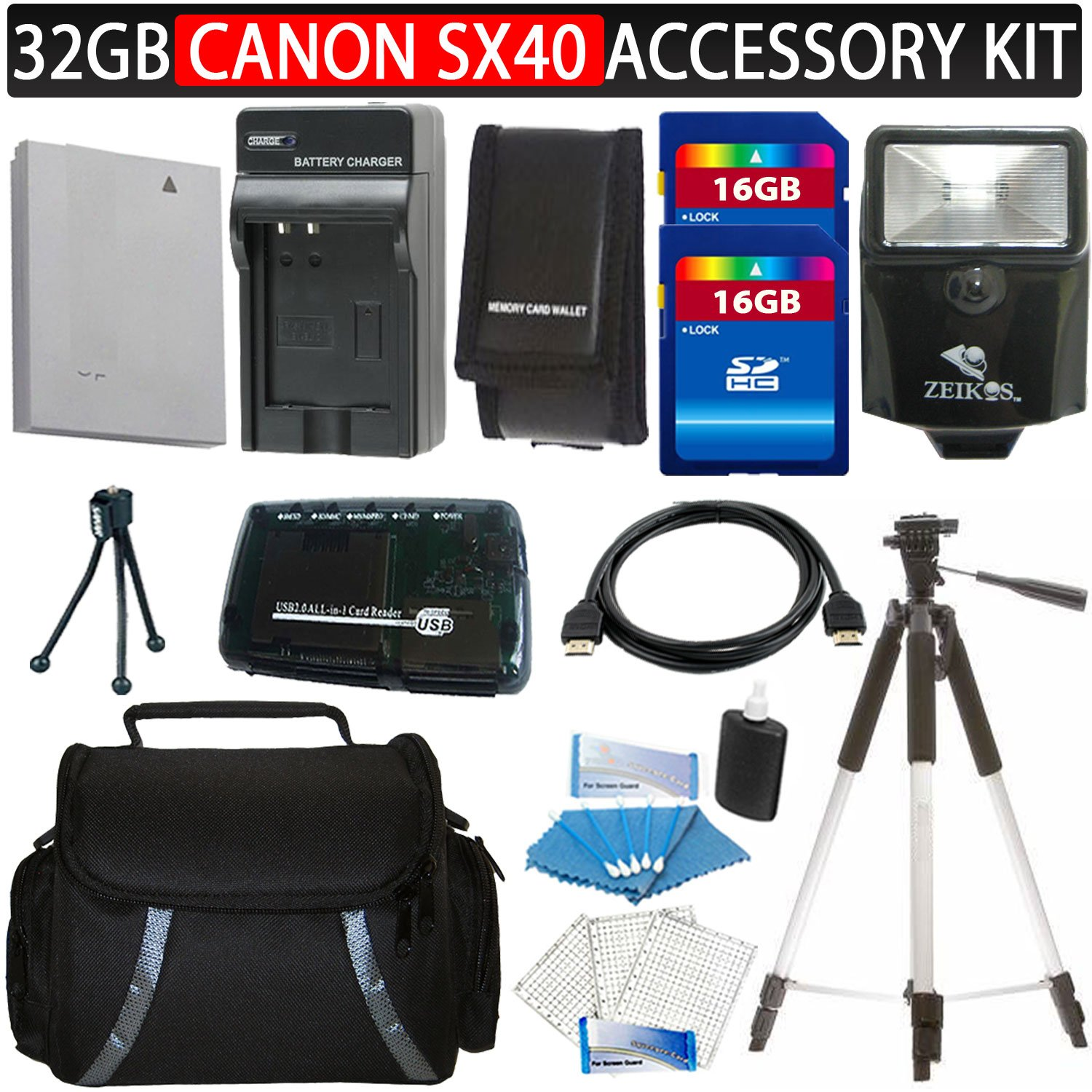 Canon SX40 HS 12.1MP Digital Camera Accessory Kit Includes Canon NB-10L Equivalent Replacement Battery (Generic)+ Charger + 16GB SDHC Memory (2Pcs)+ Reader + Digital Flash + Camera Case + Aluminum Tripod + HDMI Cable + Screen Protector (3Pack) + Mini Trip
