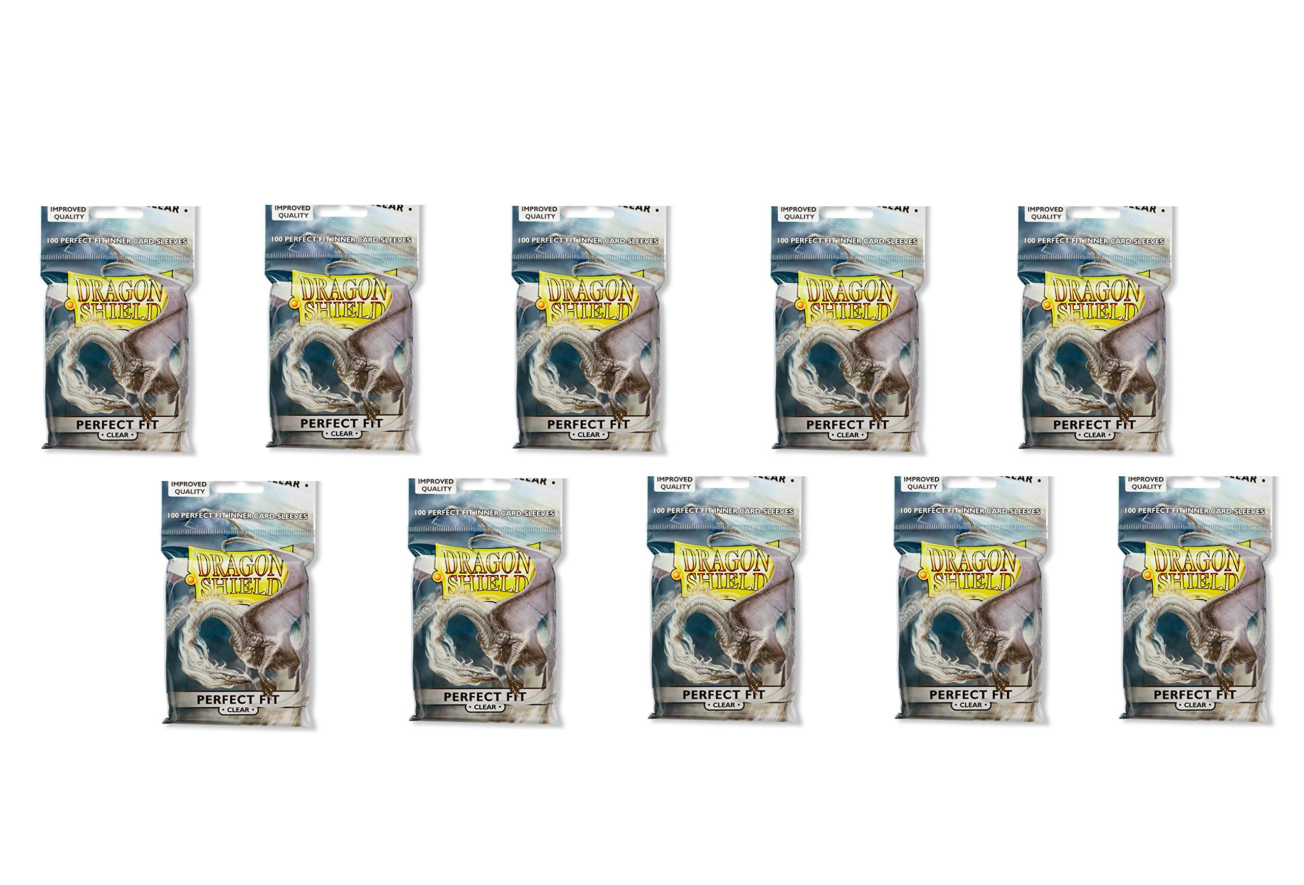 10 Packs Dragon Shield Inner Sleeve Clear Standard Size 100 ct Card Sleeves Display Case