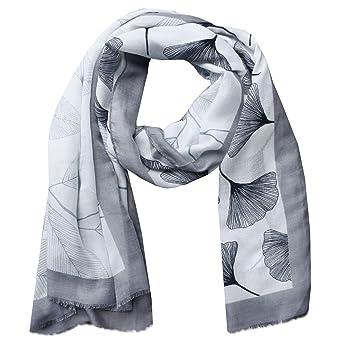 670fcb3a5b67 Foulards pour Femmes, Écharpes Châle Décoration Feuilles de ginkgo (Gris)   Amazon.fr  Vêtements et accessoires