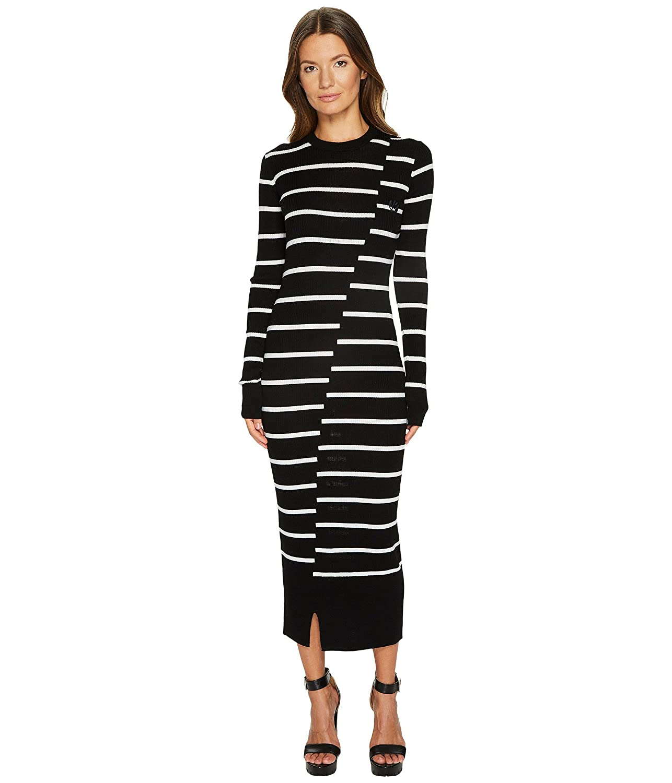 [マッキュー] McQ レディース Distort Stripe Crew ドレス [並行輸入品] B074YX2MYN Large|ブラック/ホワイト ブラック/ホワイト Large