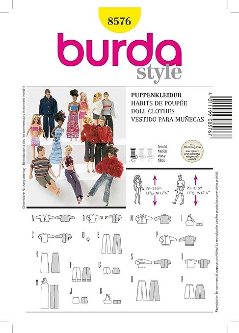 Burda Patrón 8576 Ropa para muñecas