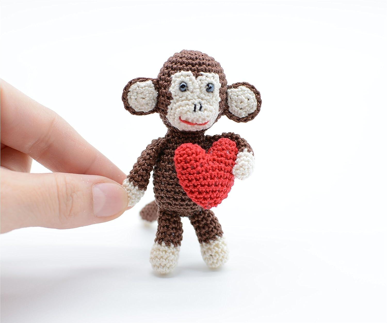 Piccola scimmia con cuore rosso, portachiavi giocattolo, regalo di compleanno unico