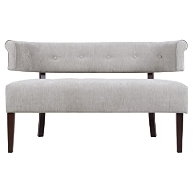 Jennifer Taylor Home Jared Collection Modern Chic Stylish Hand Tufted Armless Settee Bench with Wooden Legs, Silver Gray