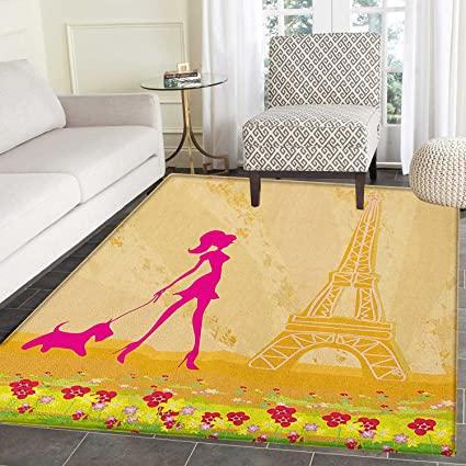 Amazon.com: Teen Room Rugs for Bedroom Pink Silhouette of A ...