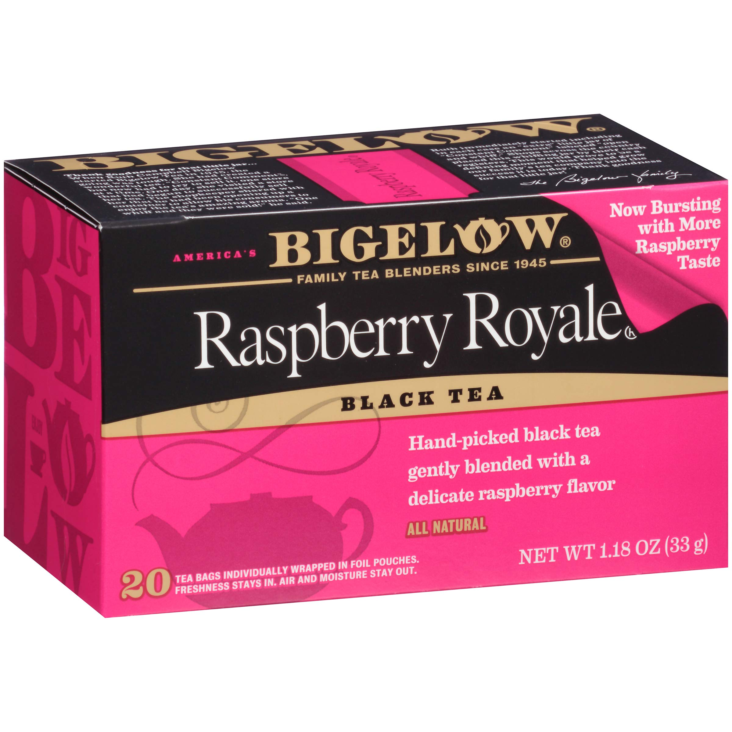 Bigelow Raspberry Royale Tea Bags 20-Count Boxes (Pack of 6), 120 Tea Bags Total. Caffeinated Individual Black Tea Bags, for Hot or Iced Tea, Drink Plain or Sweetened with Honey or Sugar by Bigelow