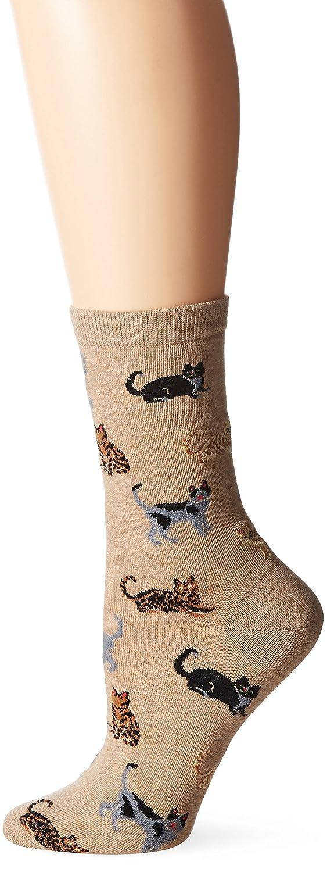 Hot Sox Women's Classic Cats Crew Socks Black Medium HO000094