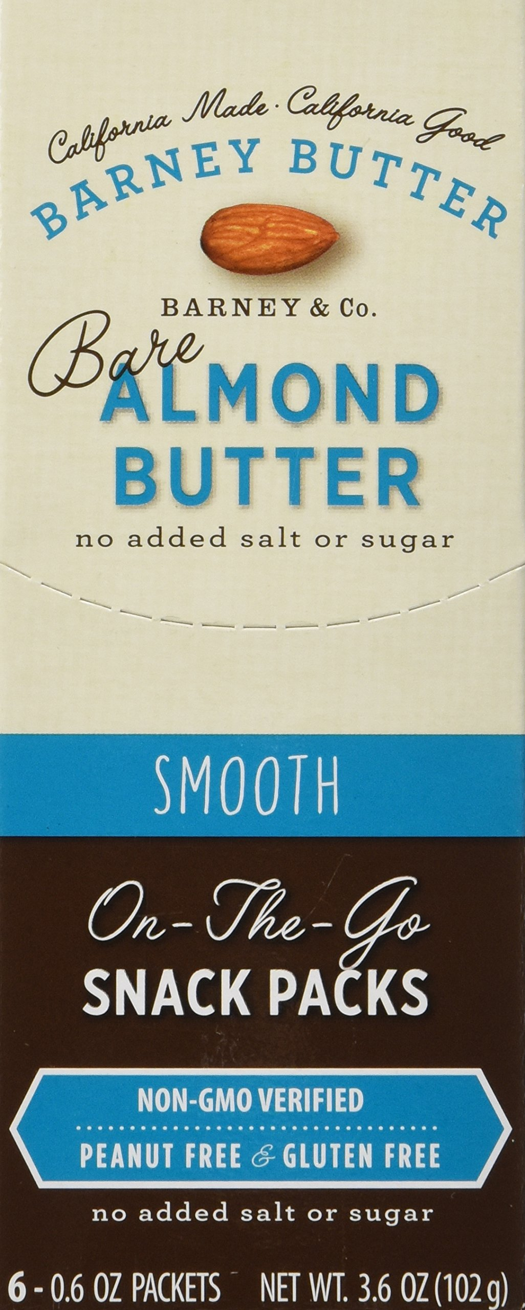 Barney Butter - All Natural Almond Butter - Bare Smooth - Single Snack Pack