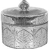 Creative Antique Silver Mercury Glass Decorative Container with Lid, Medium