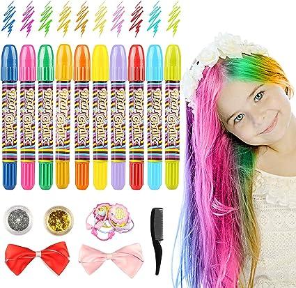 Tiza para el cabello, 10 colores de tinte temporal para cabello, lavable y no tóxico, perfecto para cosplay, Halloween, fiestas, teatro, salidas, ...
