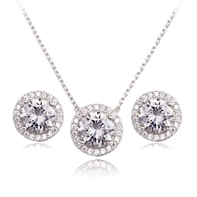 cb822b5ef40a CC La Dame Cubic Zirconia Round Halo Stud Earrings and Pendant Necklace  Jewelry Set (White Gold
