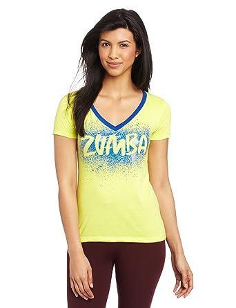Zumba Fitness® Camiseta para mujer, tamaño XS, color amarillo: Amazon.es: Deportes y aire libre