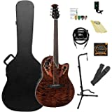 Ovation Celebrity Elite Plus Quilted Maple Top Acoustic-Electric Guitar Kit with ChromaCast Hard Case & Accessories, Tiger Eye