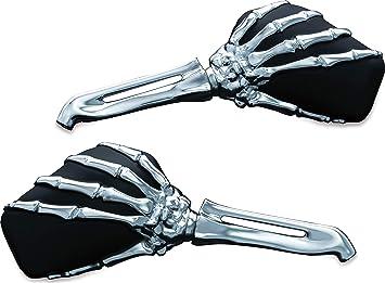 Kuryakyn 1 Paar Motorradlenker Zubehör Skelett Hand Rückspiegel Seitenspiegel Chrom Vorbau Schwarz Köpfe 1759 Auto