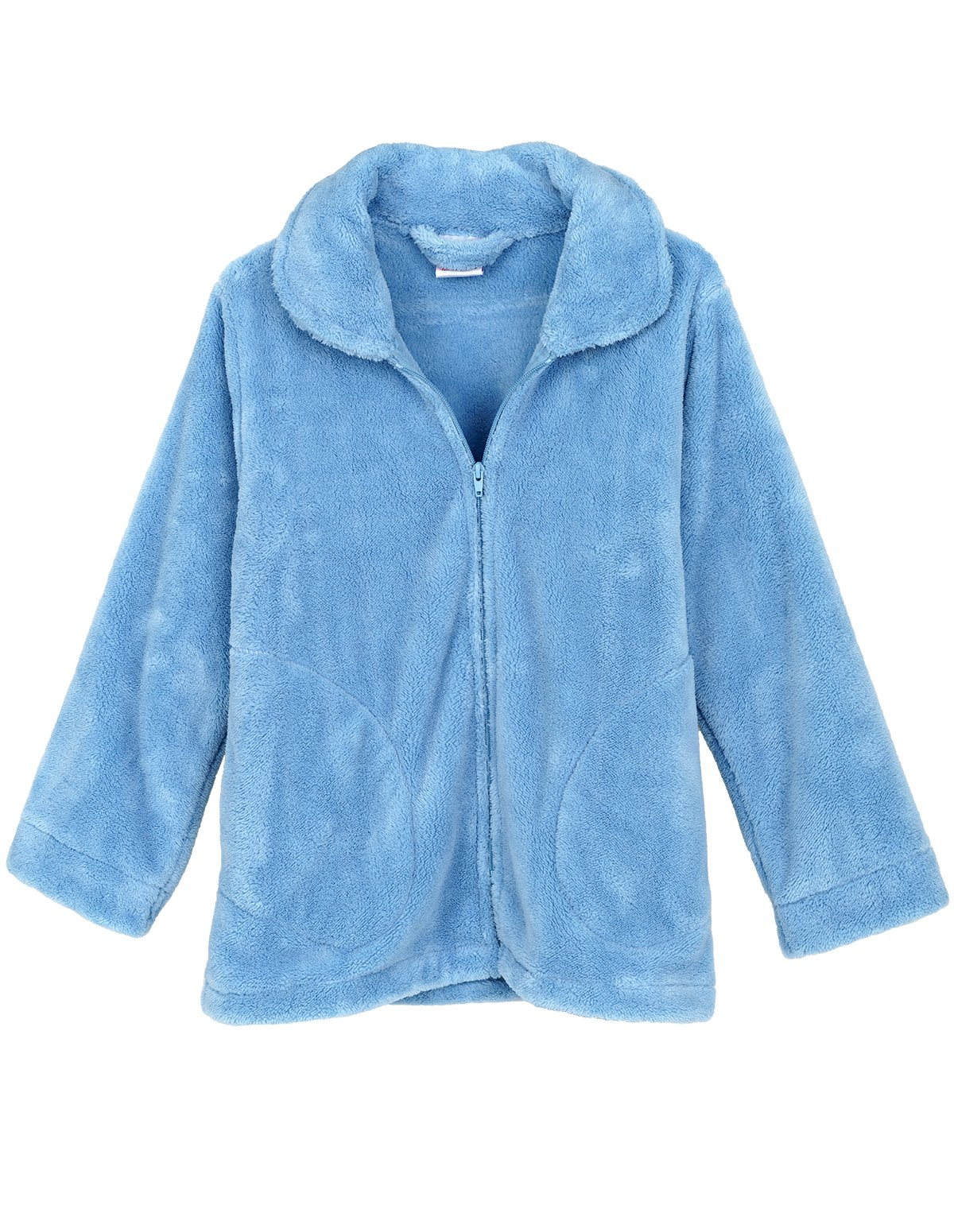 TowelSelections Women's Bed Jacket Zip Front Cardigan Fleece Robe Lounge Coverup Medium Blue Bell by TowelSelections