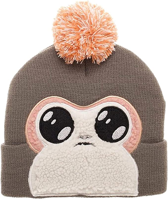 Cute Porg Star Wars beanie for kids and some adults with pom pom