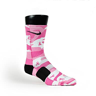 7b186cbe789 HoopSwagg Breast Cancer Camo Custom Elite Socks at Amazon Women's Clothing  store:
