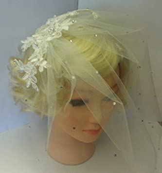 50f8e2aa9a491 Birdcage veil Lace fascinator. MissElgance blusher veil White