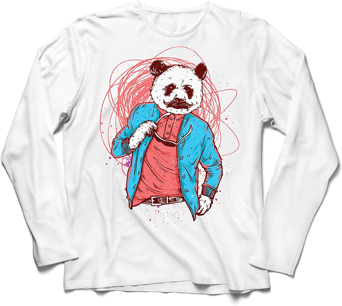 lepni.me Camiseta de Manga Larga para Hombre Panda Moderna, Ropa Urbana, Graciosa gráfica. (XS Blanco Multicolor): Amazon.es: Ropa y accesorios