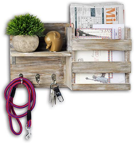 Spiretro Wall Mount Entryway Mail Envelope Organizer, Key Holder Hooks, Leash Hanging, Coat Rack, Letter Newspaper Storage, Ornament Home Decorative Floating Shelf, Country Rustic Torched Wood-Grey