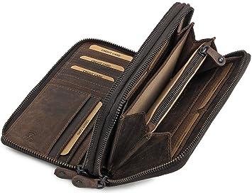 Damen Geldbörse Portemonnai Geldbeutel Groß 100/% Echt Leder von Hunters mit Box