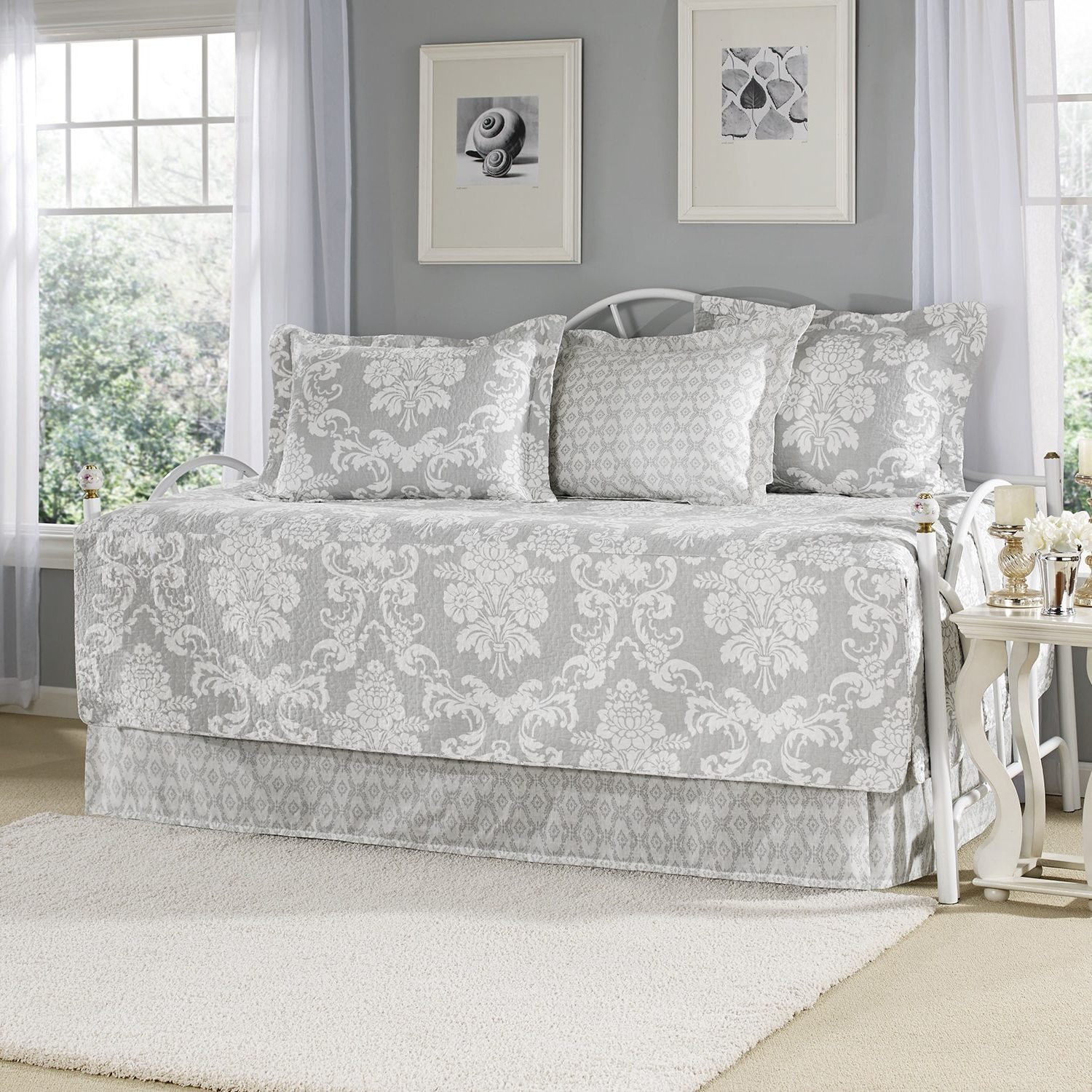 5 Piece Grey Floral Daybed Set Bedding, Geometric Coastal French Country Shabby Chic Motif Flower Design Pattern Day Bed Bedskirt Pillows, Polyester