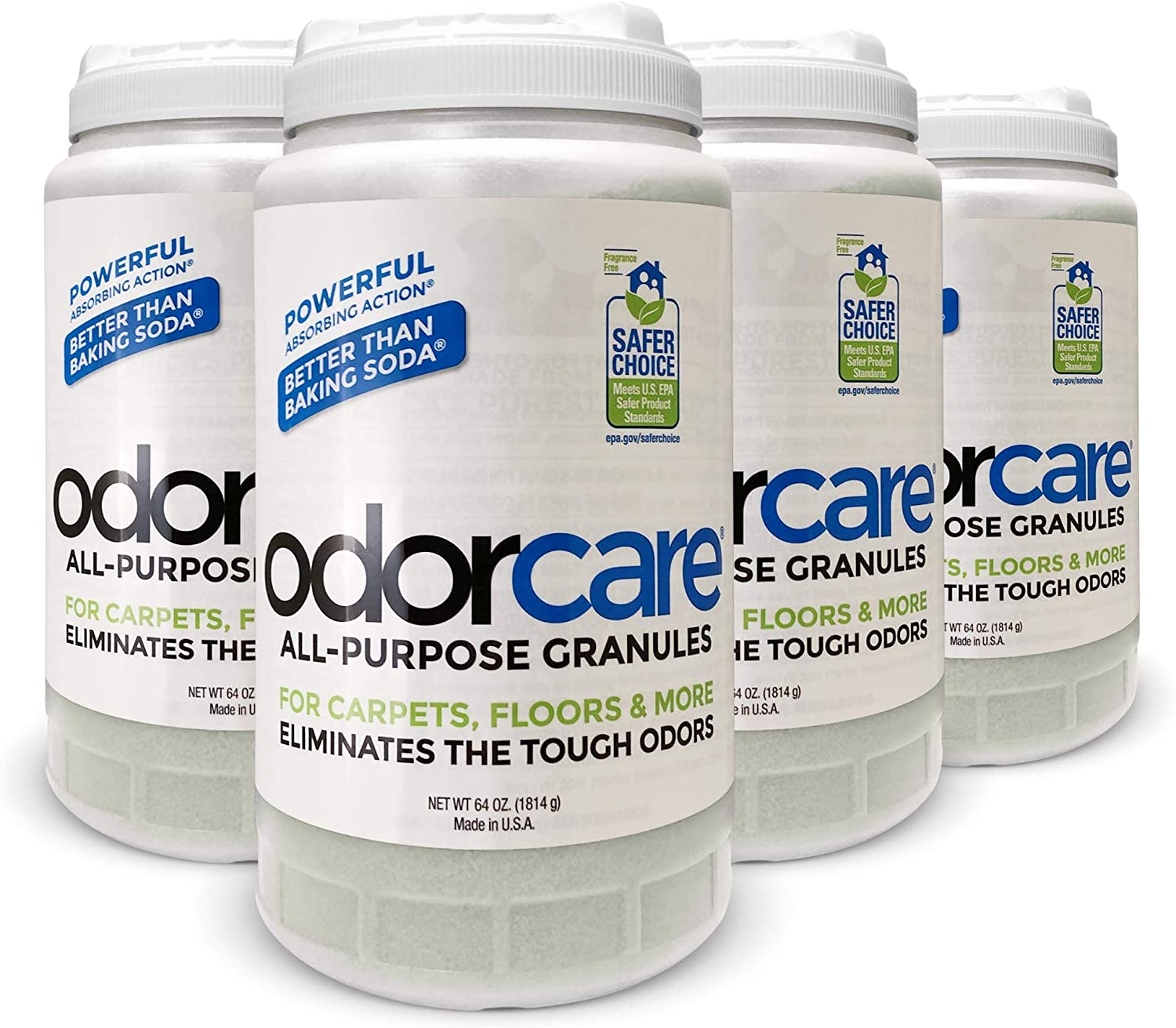 odorcare All-Purpose Granules 64 oz. (Value Pack of 4) for Carpets, Floors, Upholstery & More - The only EPA Safer Choice-Certified granular Home + Business + Pet Odor Eliminator