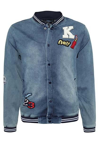 98 86 Herren Sweat Bomberjacke mit Patches im Denim Look