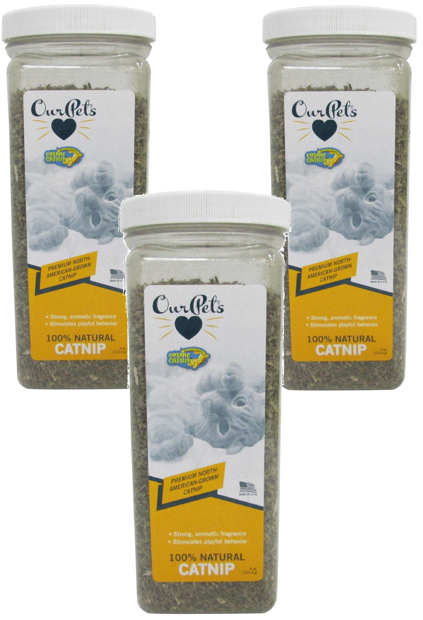 (3 Pack) OurPets Premium North-American Grown Catnip, 4 Ounces each