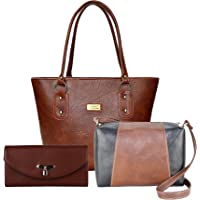 Flora Premium PU Leather Women's Handbag With Sling Bag And Hand Clutch Combo Of 3 (Tan_FLORA-146)