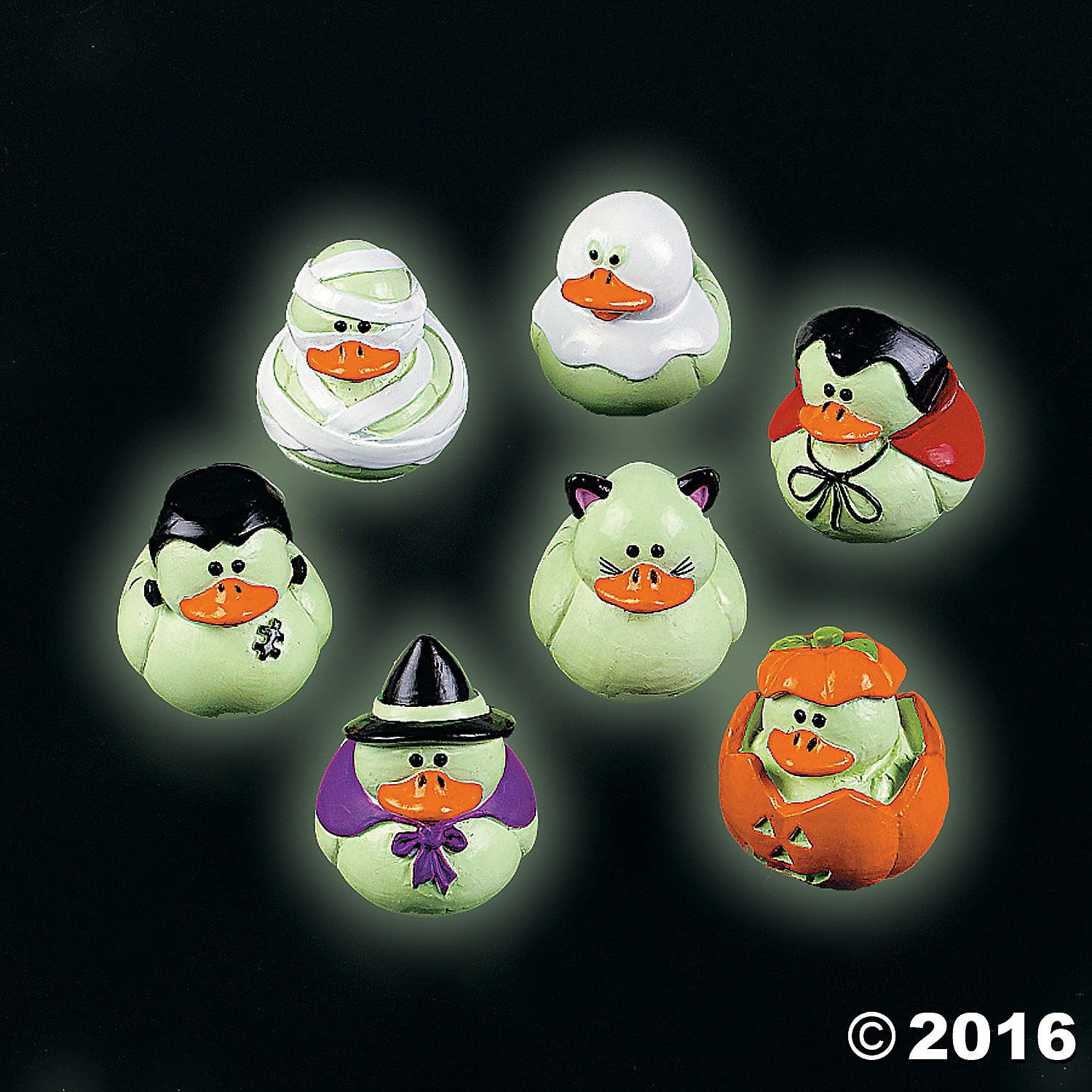 Mini Glow-in-the-dark Halloween Rubber Ducks