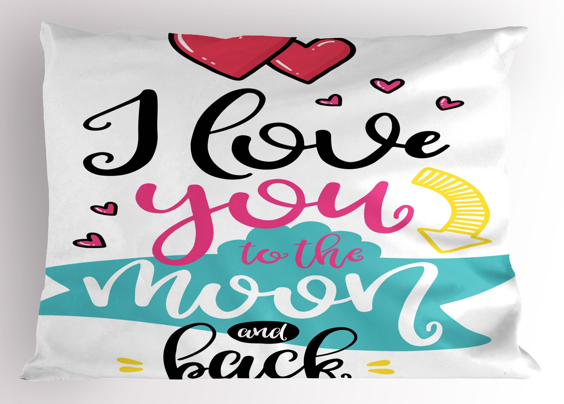 Ambesonne I Love You Pillow Sham, I Love You to The Moon and Back Valentine's Motivational Quote Partners Design, Decorative Standard King Size Printed Pillowcase, 36 X 20 inches, Multicolor