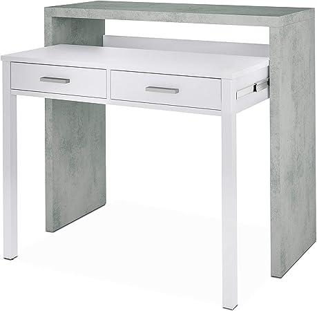 Habitdesign 0L4582A - Mesa de Escritorio Extensible, Mesa Estudio Consola, Medidas: 98,5 x 87,5 x 36-66 cm de Fondo (Blanco Artik y Gris Cemento): Amazon.es: Hogar