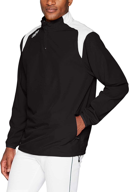 Rawlings Mens Adult Quarter Zip Long Sleeve Jacket Black Large