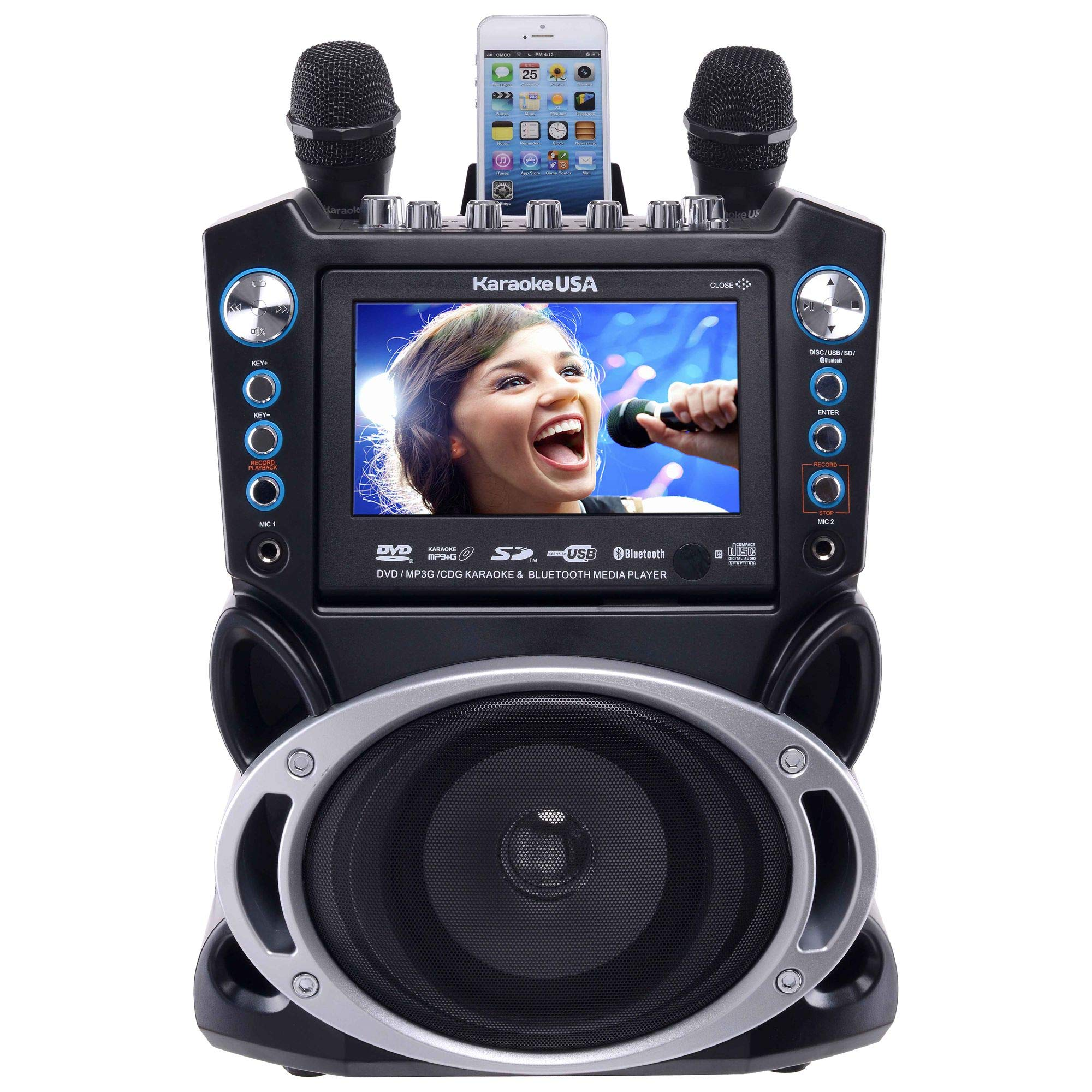 Karaoke USA GF840 DVD/CDG/MP3G Karaoke Machine with 7'' TFT Color Screen with Record and Bluetooth