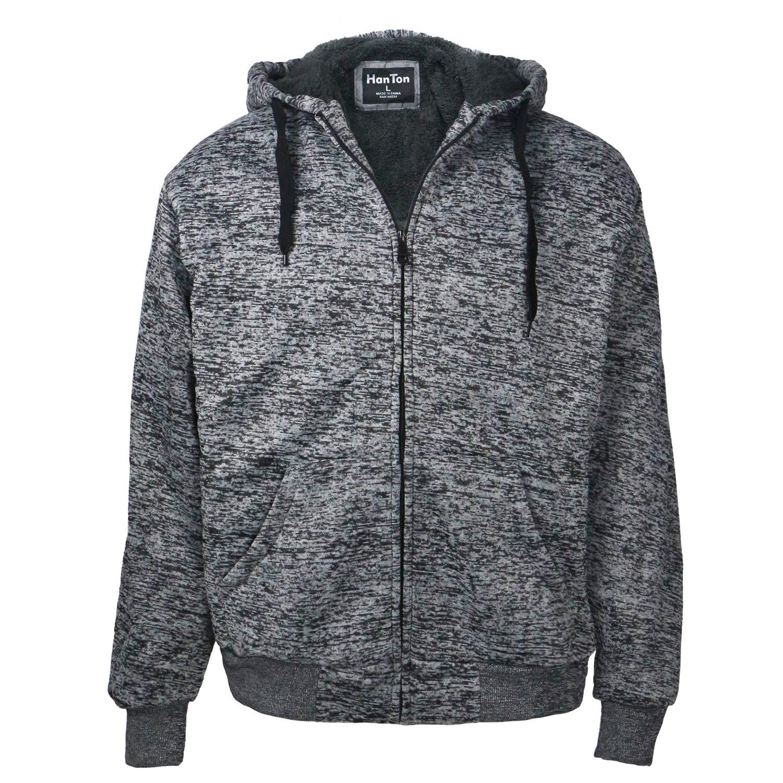 Leehanton Mens Sherpa Lined Heavyweight Fleece Hoodies Full Zip Big /& Tall Sweatshirts Jackets Size S-5XL