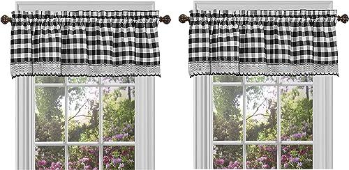 Achim Home Furnishings BCVL14BW12, Black White Buffalo Check Window Curtain Valance, 58 x 14 1, Tw P ck