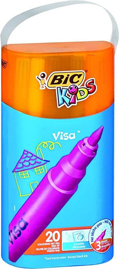 BiC Kids Visa - Caja de rotuladores caja de 20: Amazon.es: Oficina y papelería
