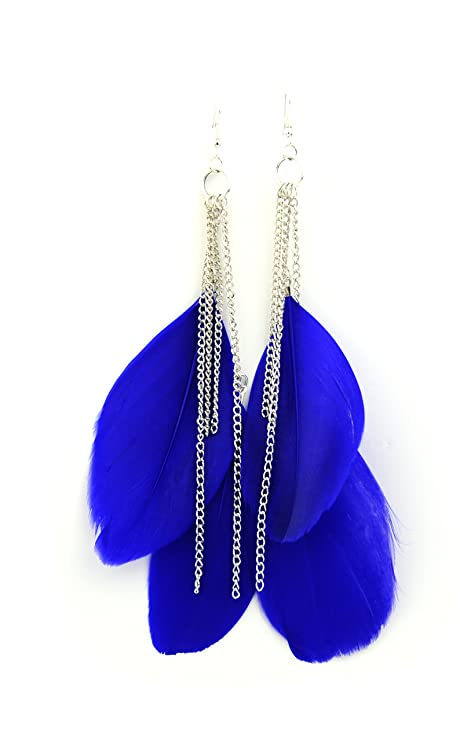 Long swing feather earrings Royal Blue VaHCfIw4