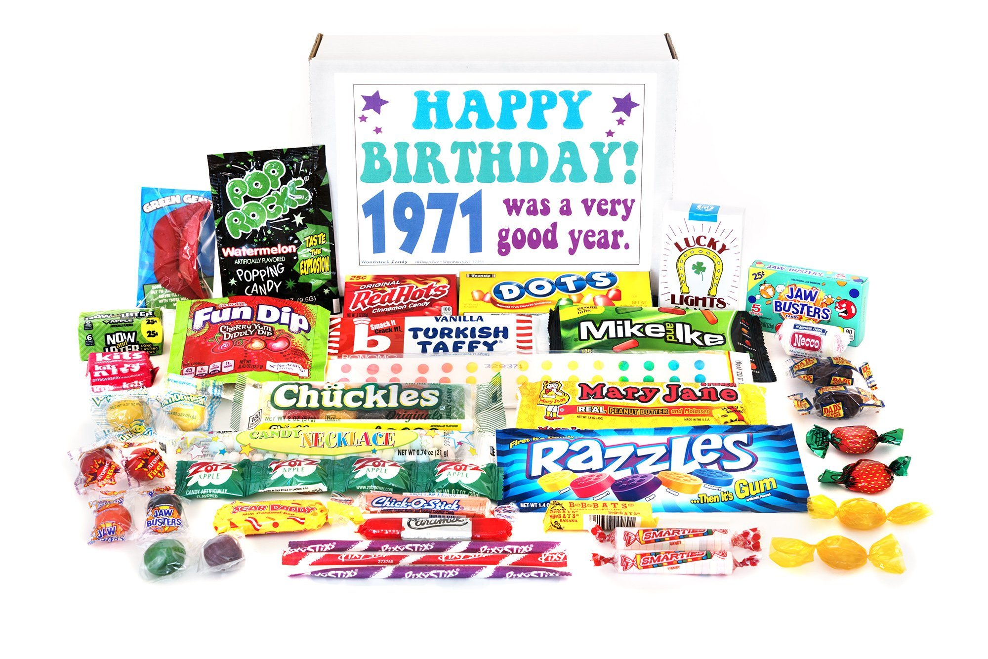 Woodstock Candy ~ 1971 48th Birthday Gift Box Nostalgic Retro Candy Mix from Childhood for 48 Year Old Man or Woman Born 1971 Jr