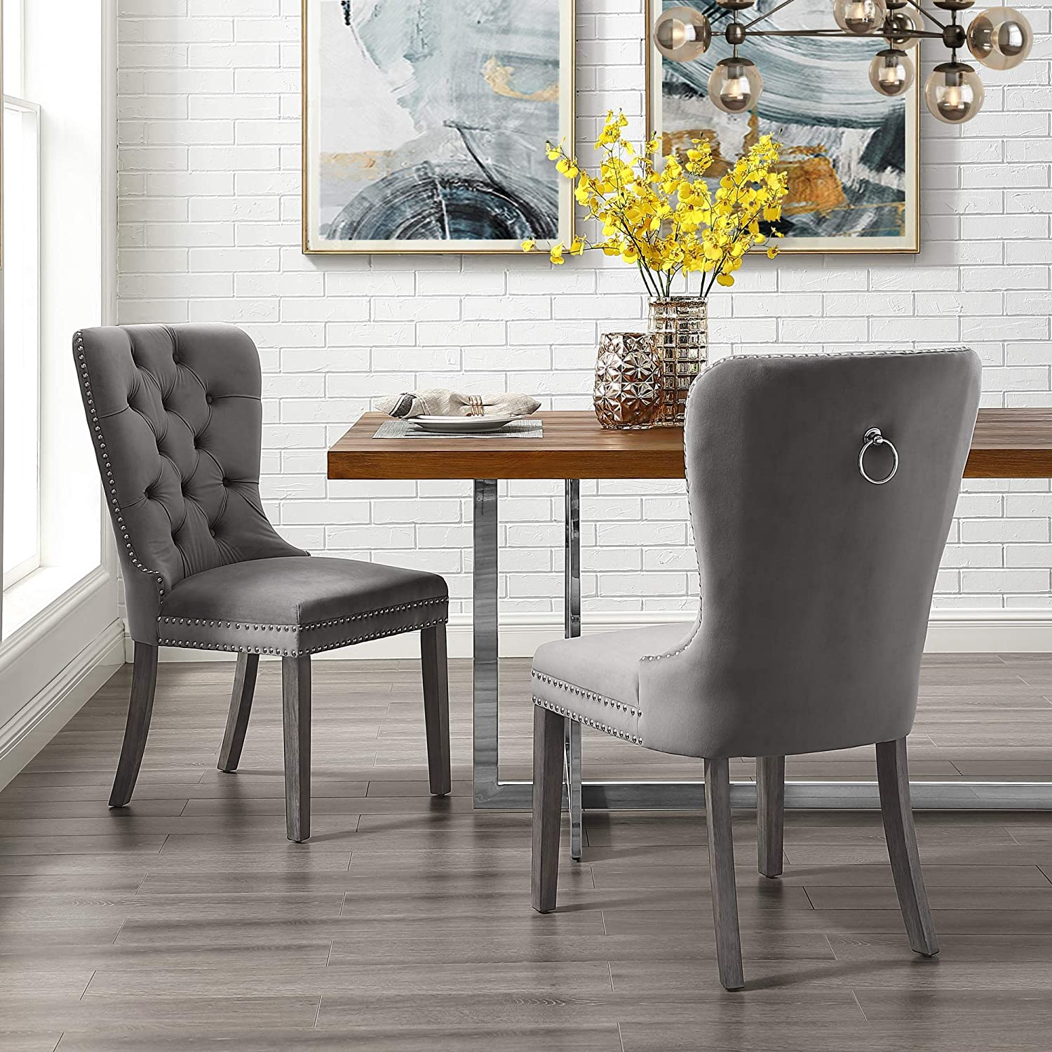 Amazon Com Inspiredhome Grey Velvet Dining Chair Design Brielle Set Of 2 Tufted Ring Handle Chrome Nailhead Finish Chairs
