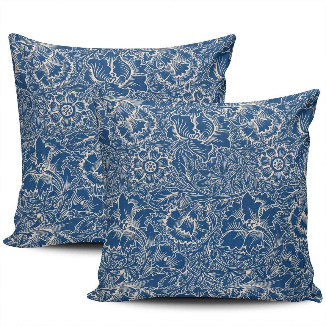 KELEMO Decorative Throw Pillow Case Cushion Cover Sofa Bedroom Monaco Blue Damask Pillowcase Double Printed Square 22 x 22 Inch Set of 2