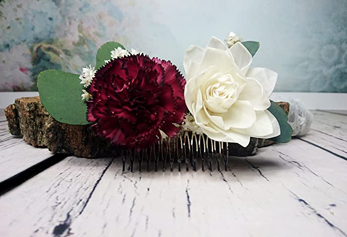 0c65b76e022f Amazon.com  Burgundy Ivory Natural Eucalyptus Wedding Hair Comb Bridal  Hairpiece  Handmade