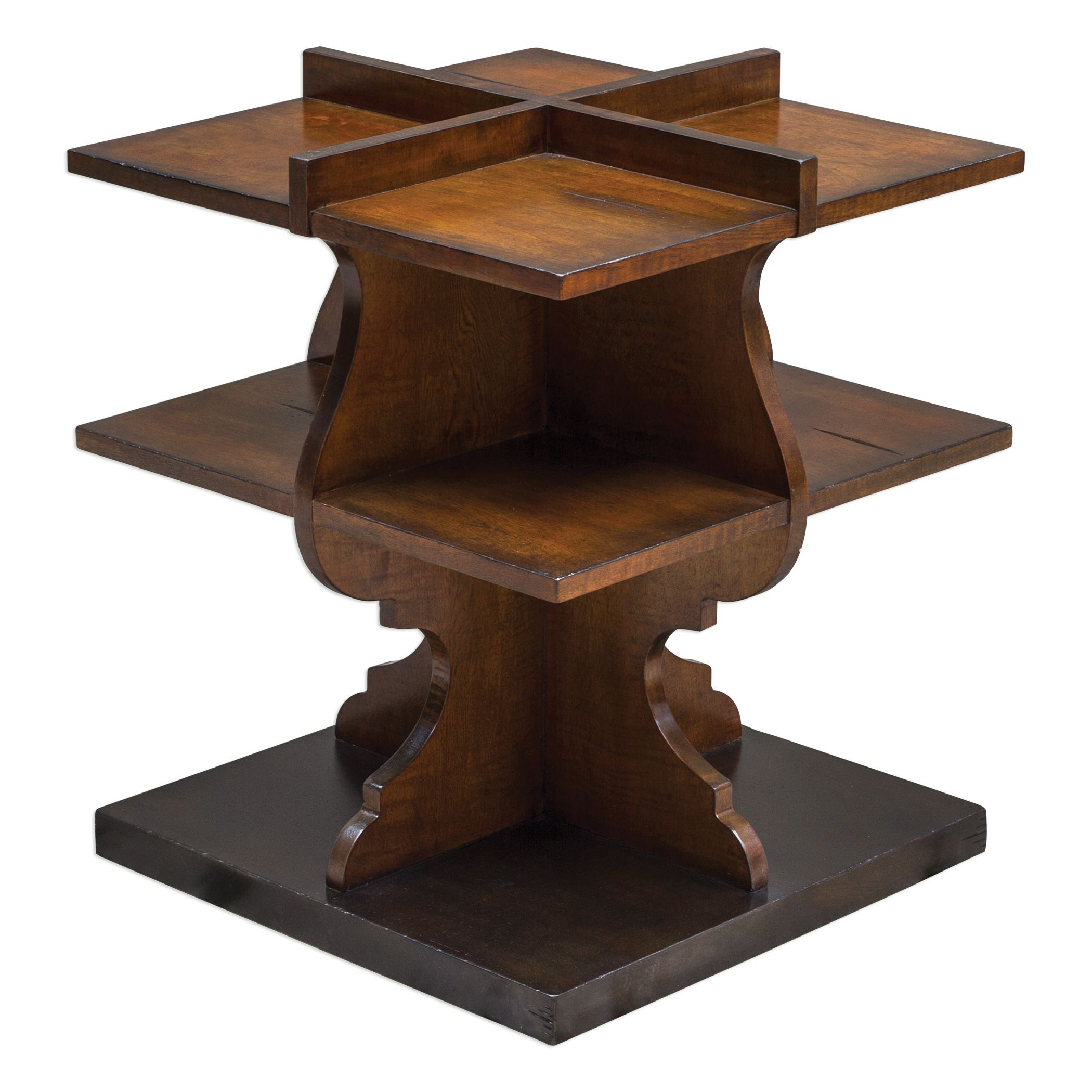 MY SWANKY HOME Antique Style Curved Wood Shelf Pedestal Table | Dark Display Classic by MY SWANKY HOME