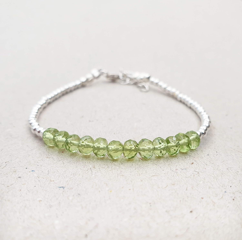 Gorgeous Green Peridot Woman/'s Wedding Silver Bracelet 8.0