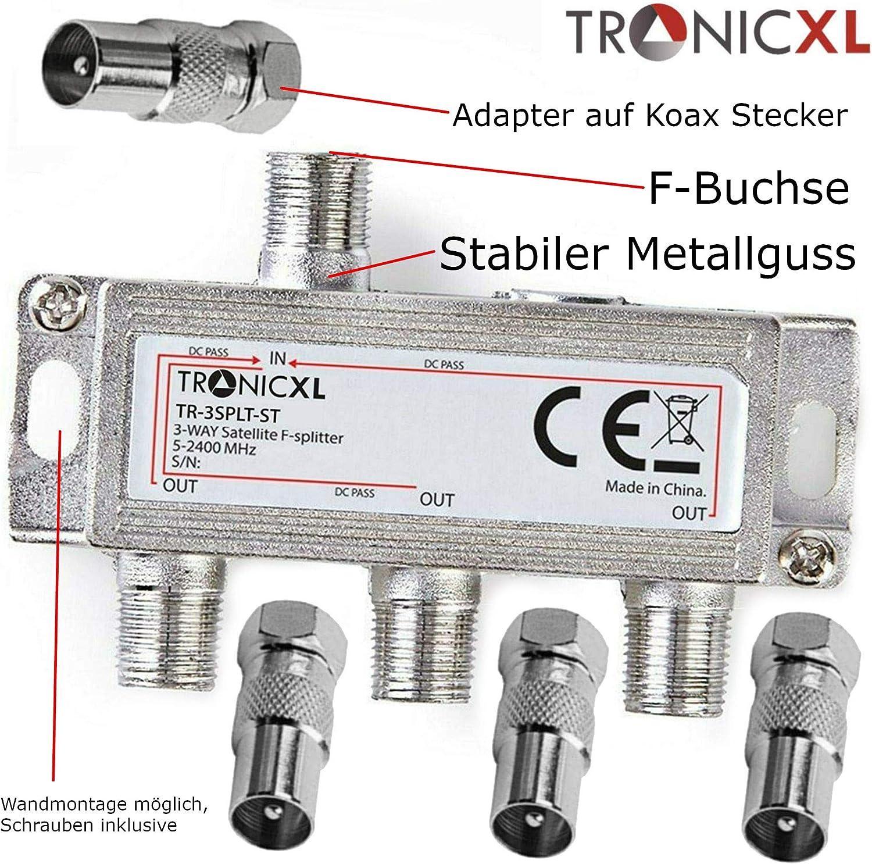 TronicXL Distribuidor de antena (3 vías, compatible con televisión por cable, DVBC, compatible con Unitymedia, SAT, Unicable, Sky Cable Aerial, TV, ...