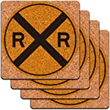 Railroad crossing Traffic Sign Train Low Profile Cork Coaster Set