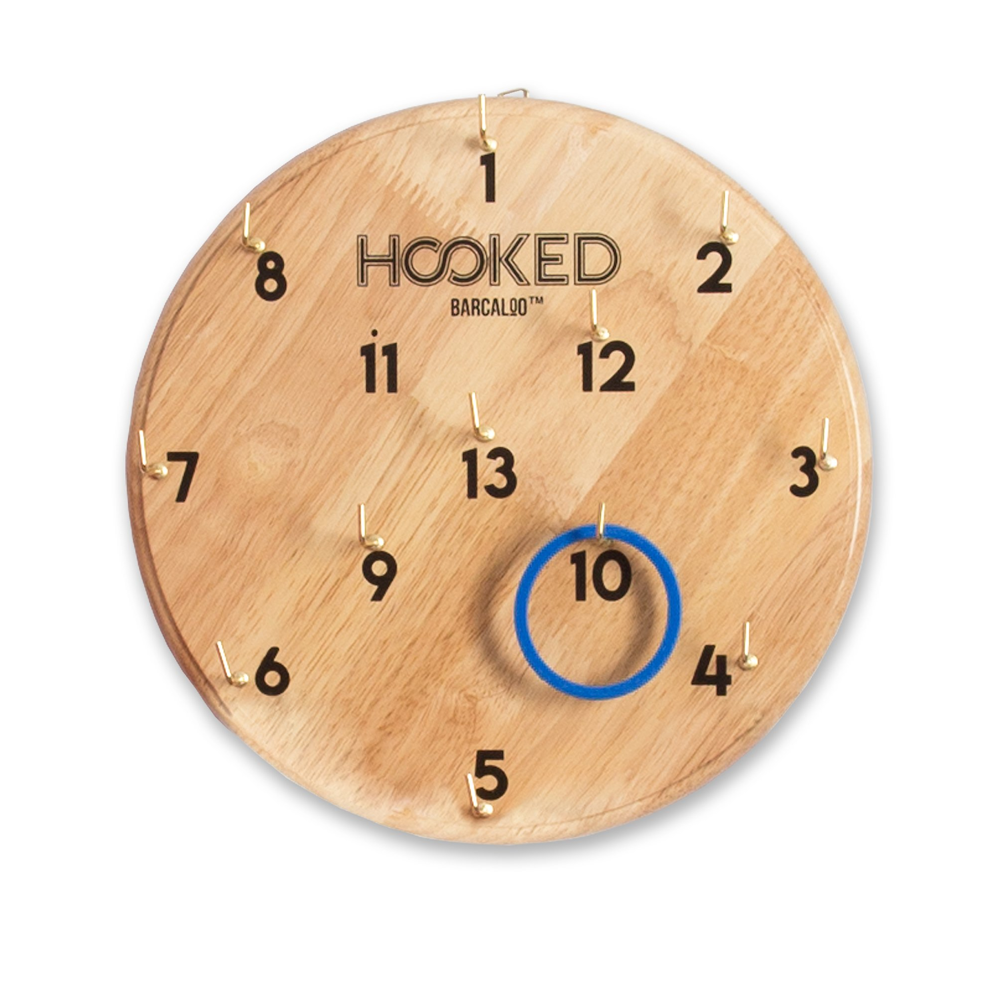 Barcaloo Hooked - Hook and Ring Game for Adults & Kids - Includes 13 Metal Hooks and 12 Rubber Rings