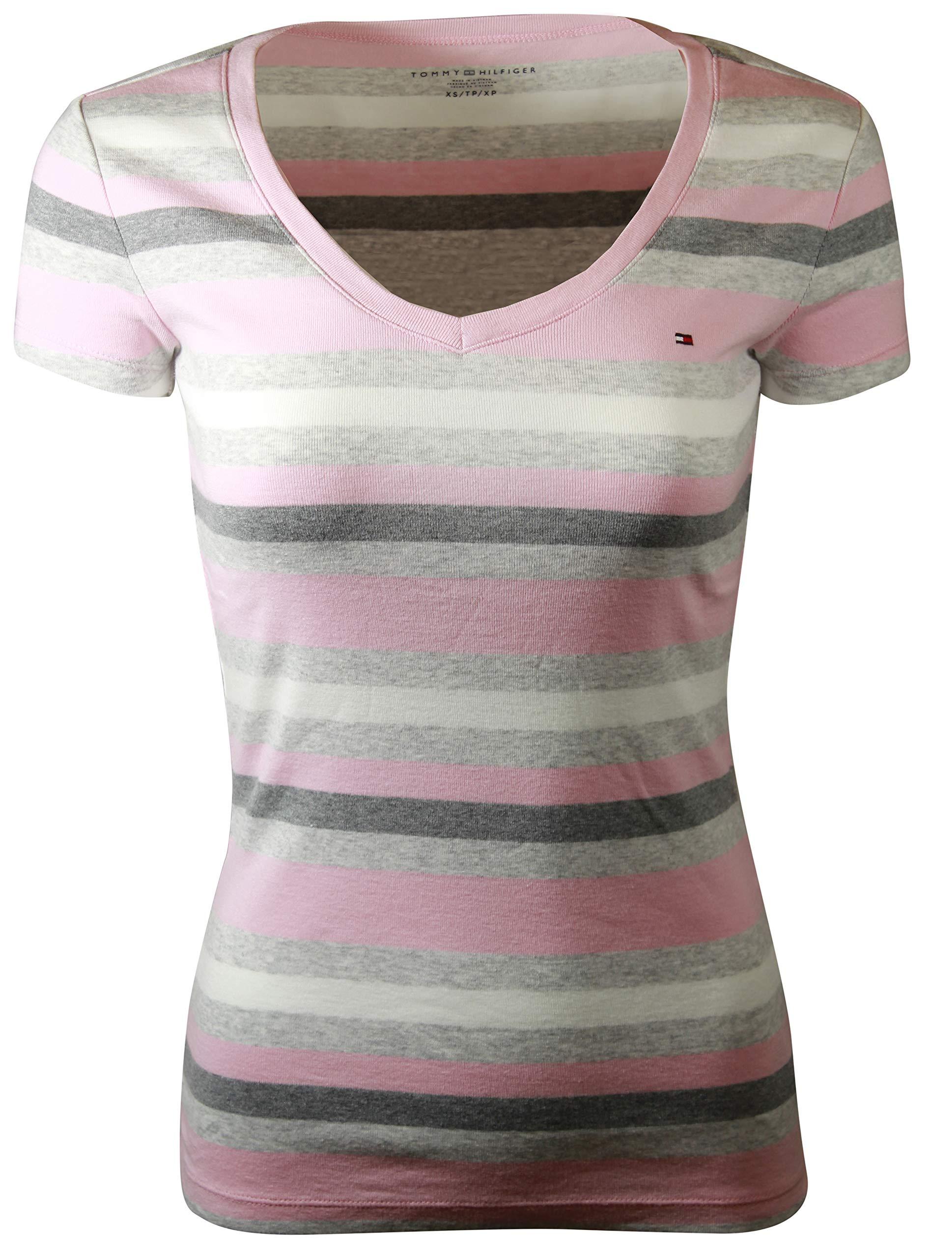 b67d00cf Galleon - Tommy Hilfiger Womens V-Neck Solid Color Logo T-Shirt (Small,  Pink/Grey/Light Grey)
