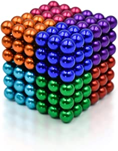 Sky Magnets 5 mm Magnetic Balls Cube Fidget Gadget Toys Rare Earth Magnet Office Desk Toy Games Magnet Toys Multicolor Beads Stress Relief Toys for Adults (8 Colors)